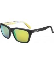 Bolle 527 Retro koleksiyon mat siyah grafik polarize kahverengi zümrüt güneş gözlüğü