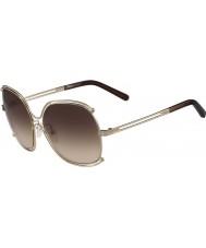 Chloe Bayanlar ce129s altın ve Şeffaf kahverengi güneş gözlüğü gül