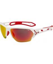 Cebe S-track büyük mat beyaz, kırmızı güneş gözlüğü