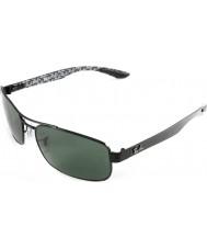 RayBan Rb8316 62 teknoloji karbon fiber siyah, yeşil 002-n5 polarize güneş gözlüğü