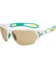 Cebe 500 net yedek lens ile S-track büyük mat beyaz turkuaz variochrom perfo güneş gözlüğü