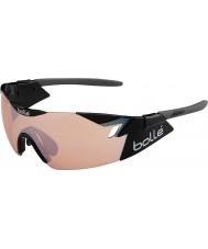 Bolle 6 anlamda parlak siyah modülatör silah güneş gözlüğü gül