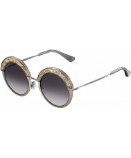 Jimmy Choo Bayan Gotha-ler 68i 9c 50 çıplak paladyum güneş gözlüğü