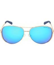 Michael Kors Mk5004 59 chelsea altın yükseldi 100.325 mavi güneş gözlüğü aynalı